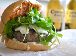 Mozzerella and red pesto burger