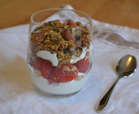 The finished granola pot