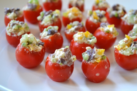 Mini Greek Salad Tomatoes